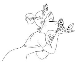 Princess Tiana Kiss The Frog In Princess And The Frog Coloring Princess And The Frog Colouring Pages