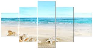 wall canvas beach ocean seashells nautical 5 panel home decor