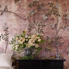 chinoiserie hand painted wallpaper colours on real silver gilede