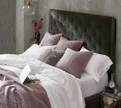 lorraine tufted tall bed u0026 headboard pottery barn