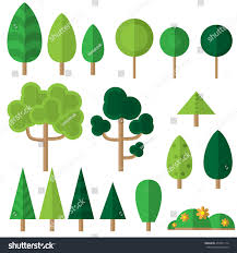 vector set flat trees flowers eco stock vector 454571116