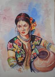 saatchi art indian woman with water pot painting by vijay malhotra