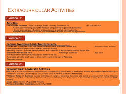 Examples Of Extracurricular Activities For Resume by Creating Effective Resumes