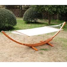 Hammock Swing With Stand Aosom Outsunny Cypress Wooden Arc Hammock Stand With Hammock
