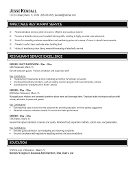 Server Experience Resume Resume Food Server Resume Examples