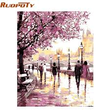 ruopoty cherry blossoms road diy oil painting by numbers kits wall
