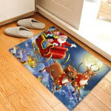 Santa Claus Rugs Red W16 Inch L24 Inch Christmas Night Santa Sleigh Pattern Anti