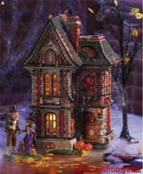 department 56 halloween village clearance dept 56 halloween boo mansion 88519 nrfb time to celebrate