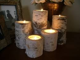 birch bark log candle holders tea lights set of 5 wedding