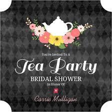 tea party bridal shower invitations chalkboard flowers tea party bridal shower invitation