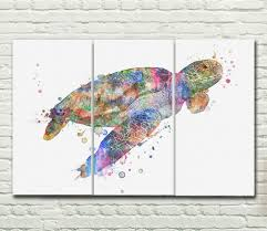 sea turtle watercolor art canvas sets wall print sets sea