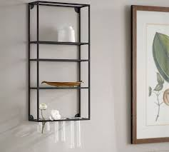 Wall To Wall Bookcases Wall Shelf Unit With Multi Glass Rack Pottery Barn