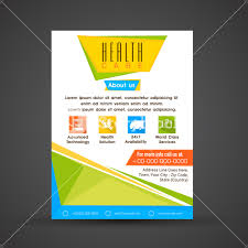 health care flyer template or brochure layout with colorful