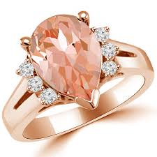 pink morganite pink pear cut morganite diamond ring 14k gold