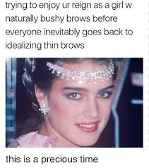 Bushy Eyebrows Meme - trying to enjoy ur reign as agirl w naturally bushy brows before
