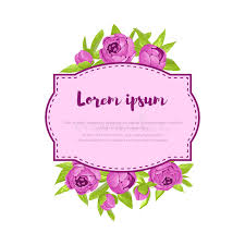 Congratulation Banner Purple Vintage Peonies Around Frame With Sign For Wedding