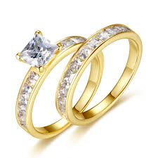 Womens Wedding Ring Sets by Gold Plated Sterling Silver Cubic Zirconia 1 25ct Princess Cut