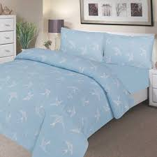 Single Duvet And Pillow Set Waterproof Poly Cotton Bedding Single Duvet Set Blue Swallow