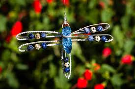 dragonfly memorial ornament silverwrapped with jasper and
