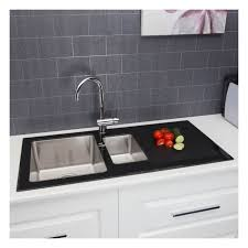 Black Glass Kitchen Sinks Superb 1 5 Kitchen Sink Ttheorem1 5b 13299 Home Interior Gallery