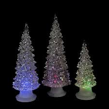 set of 3 icy crystal multicolored led christmas trees battery