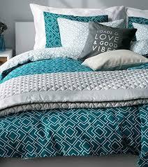 emerald geo print duvet cover cotton 3pc set modern moroccan tile