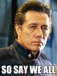 Battlestar Galactica Meme - battlestar galactica commander william adama heck yea
