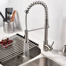 nickel faucets kitchen brushed nickel kitchen sink faucet with pull sprayer