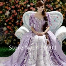 victourian ballgown light purple floor length lace pearl voile
