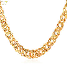 necklace trendy images U7 male chain necklace trendy jewelry wholesale 5mm gold silver jpg