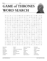 game of thrones word search all free printable pinterest