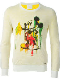 iceberg sweater lyst iceberg mickey mouse print sweater in yellow for