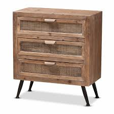 how to whitewash brown cabinets designer studios calida mid century modern whitewashed brown finished wood and rattan 3 drawer storage cabinet