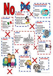 chart no definite article needed worksheet free esl printable
