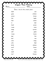 speech therapy language arts irregular plural matching worksheet