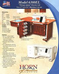 Horn Sewing Chair Reviews Horn 6380el Electric Lift Sewing Embroidery And Quilting Cabinet