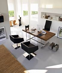 Modern Wooden Office Tables Dazzling Modern Home Office Design With Nice Looking Black Chair