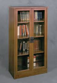 Wood Bookcase With Doors Glass Door Bookshelf Peytonmeyer Net