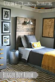 best 25 gray boys bedrooms ideas on pinterest big boy bedroom how to make a rustic headboard with a light fixture by chic on a shoestring decorating