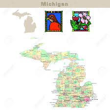 Michigan Counties Map Usa States Series Michigan Political Map With Counties Roads
