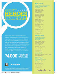 Lennar Homes Floor Plans by Valencia Gives Back To Local Heroes With New Home Incentives