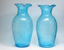 Home Decor Vase Blue Glass Vase Etsy