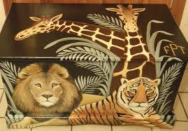 custom jungle safari toy chest with monogram or name kids