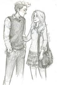 drawn couple friendship pencil and in color drawn couple friendship