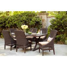hampton bay woodbury 7 piece patio dining set with textured sand
