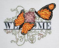 marnic designs monarch butterfly welcome cross stitch pattern