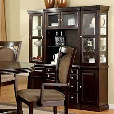 Kitchen China Cabinet Hutch Amazon Com Evelyn Traditional Style Dark Walnut Finish Formal