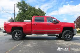 red nissan frontier lifted chevrolet silverado with 20in fuel nutz wheels exclusively from