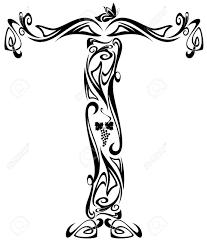 art nouveau style vintage font letter t black and white outline