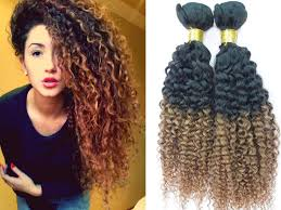 curly extensions 1 bundle 8a ombre remy hair curly t1b 30